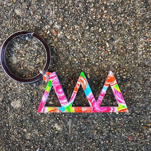 Tri Delta Floral Key Chain