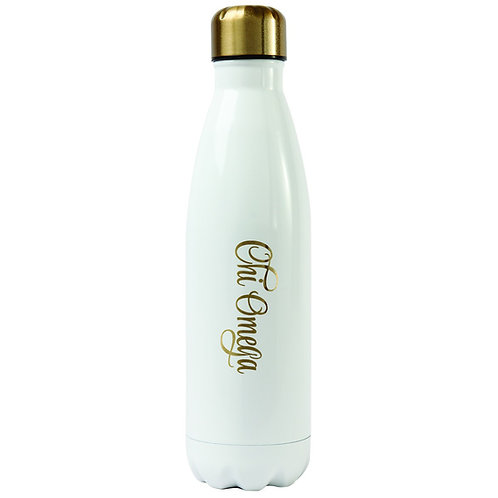 Chi Omega Gold & White Water Bottle