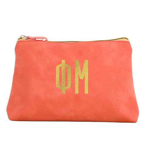 Phi Mu Leather Cosmetic Bag