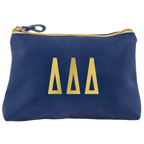 Tri Delta Leather Cosmetic Bag