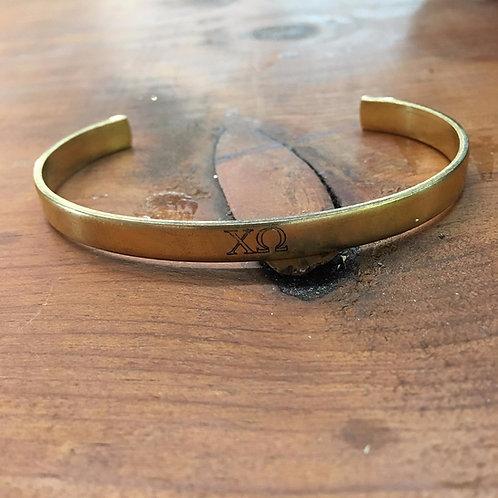 Chi Omega Gold Cuff Bracelet
