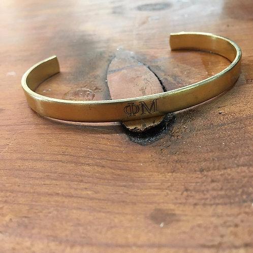 Phi Mu Gold Cuff Bracelet