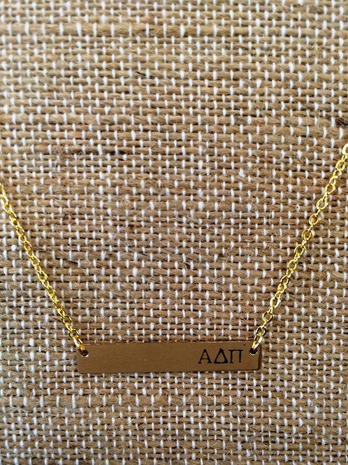Alpha Delta Pi Bar Necklace