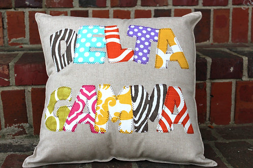 Delta Gamma Large Applique Pillow