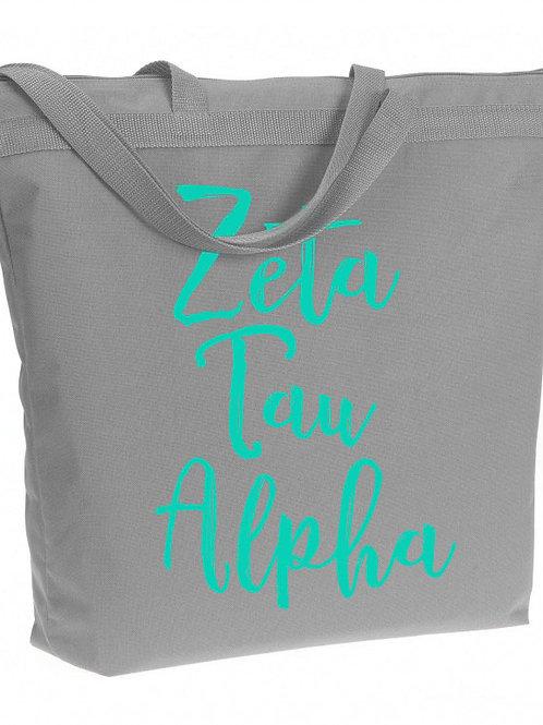 Zeta Tau Alpha Zippered Tote