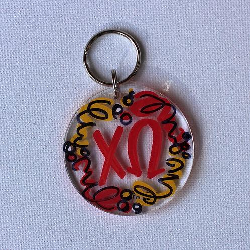 Chi Omega Acrylic Key Chain