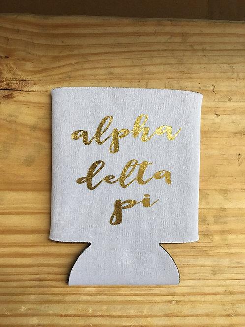 Alpha Delta Pi White & Gold Koozie