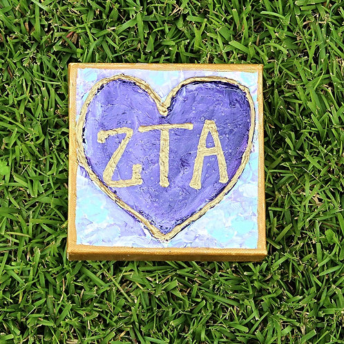Zeta Tau Alpha Large Heart Canvas