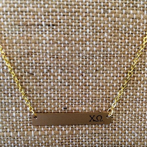 Chi Omega Bar Necklace