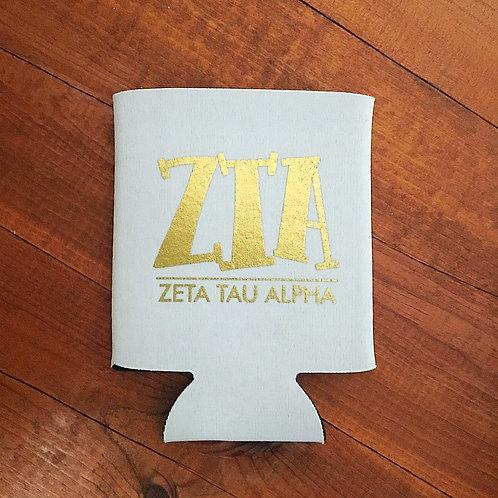Zeta Tau Alpha White and Gold Koozie