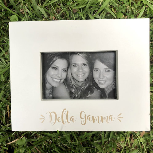 Delta Gamma White and Gold Picture Frame