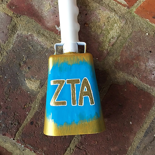 Zeta Tau Alpha Gold Cowbell