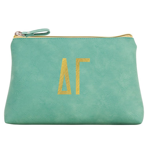 Delta Gamma Leather Cosmetic Bag