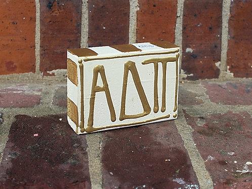 Alpha Delta Pi Gold & Cream Wooden Block