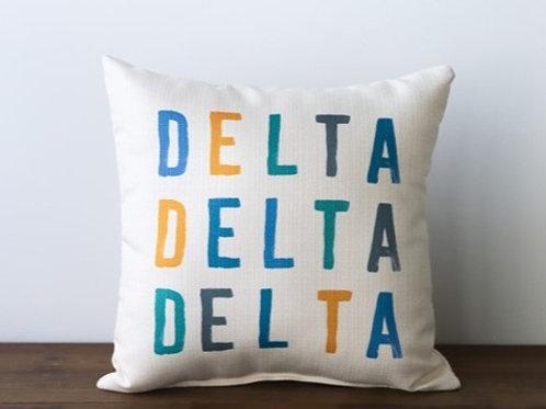 Tri Delta Color Block Pillow