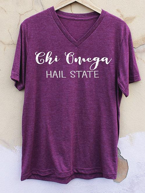 Chi Omega Maroon V-Neck