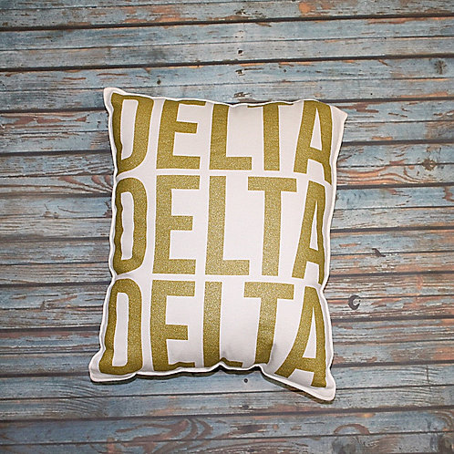 Tri Delta Gold Shimmer Pillow