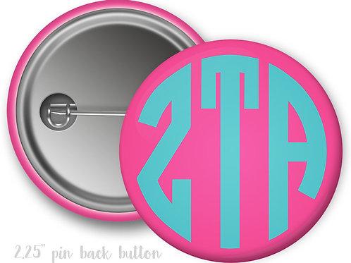 Zeta Tau Alpha Monogram Pin Button
