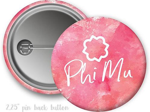 Phi Mu Watercolor Script Pin Button