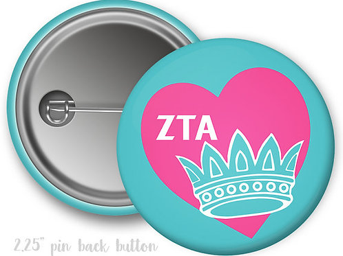 Zeta Tau Alpha Heart Pin Button