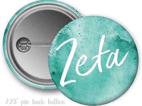 Zeta Tau Alpha Watercolor Script Pin Button