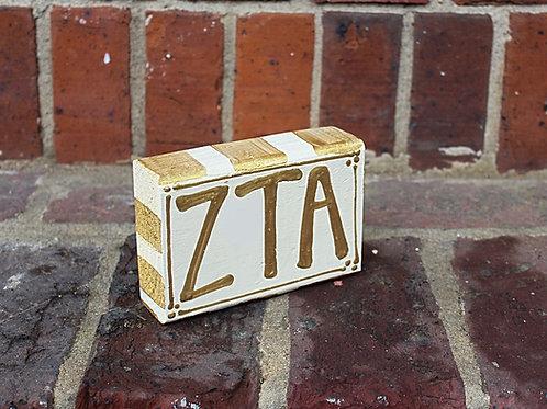 Zeta Tau Alpha Gold & Cream Wooden Block