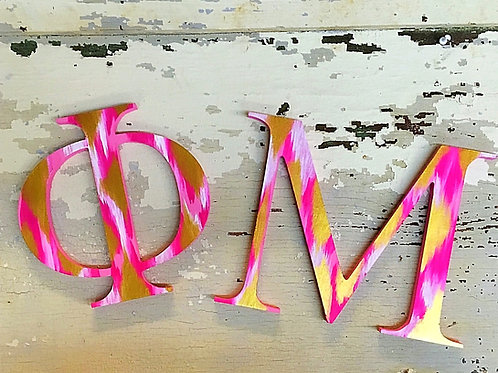Phi Mu Sorority Dye Cut Letters