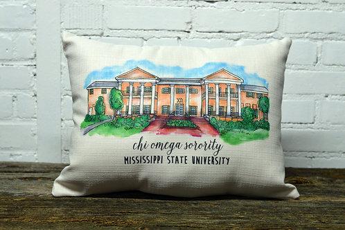 Chi Omega Sorority House Pillow