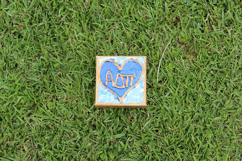 Alpha Delta Pi Small Heart Canvas