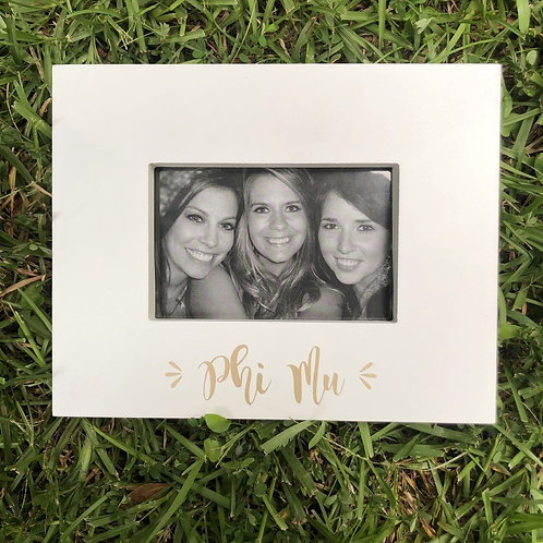 Phi Mu White and Gold Picture Frame