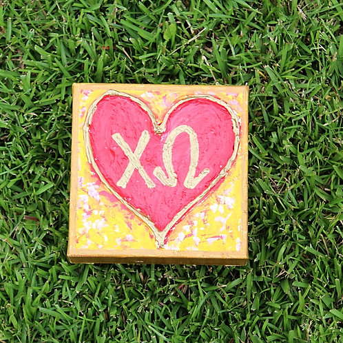 Chi Omega Large Heart Canvas
