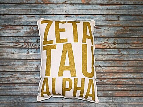 Zeta Tau Alpha Gold Shimmer Pillow