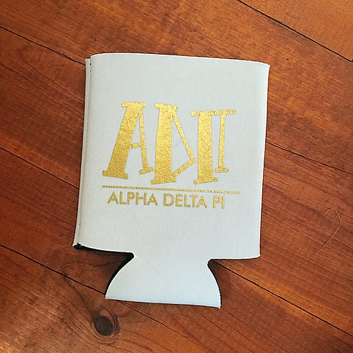 Alpha Delta Pi White and Gold Koozie