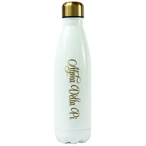 Alpha Delta Pi Gold & White Water Bottle