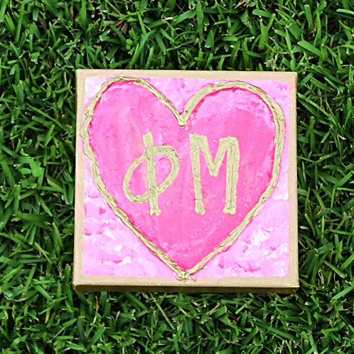 Phi Mu Large Heart Canvas