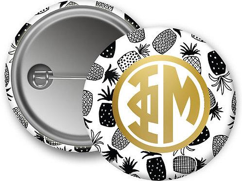 Phi Mu Gold Pineapple Pin Button