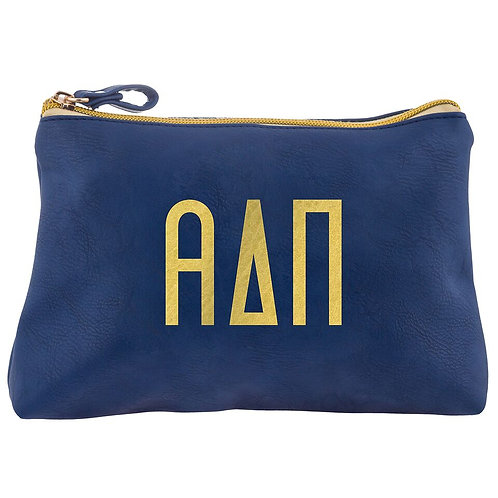 Alpha Delta Pi Leather Cosmetic Bag