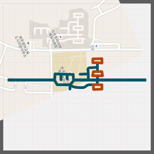This project began with a unique bit of street map from South Korea. I created a vector image of the shape in Affinity Designer.
