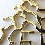 Detail of Belle River brass map pendant