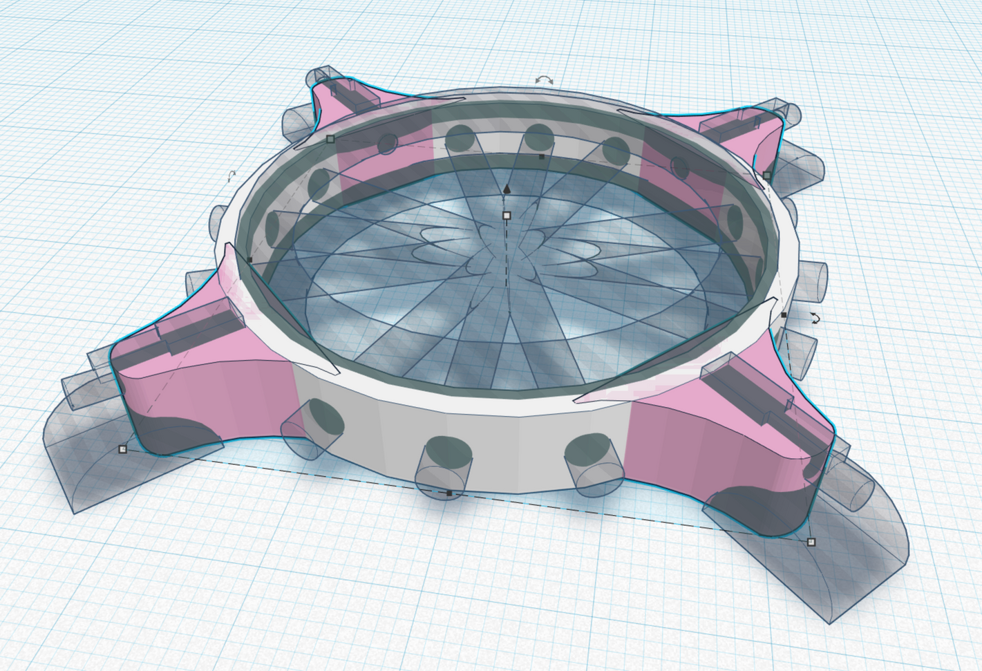 This ended up being my final design. Clunky to design in Tinkercad, but it's the level I was at and it was successful.