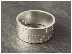 Custom Punched Tape Ring in Silver