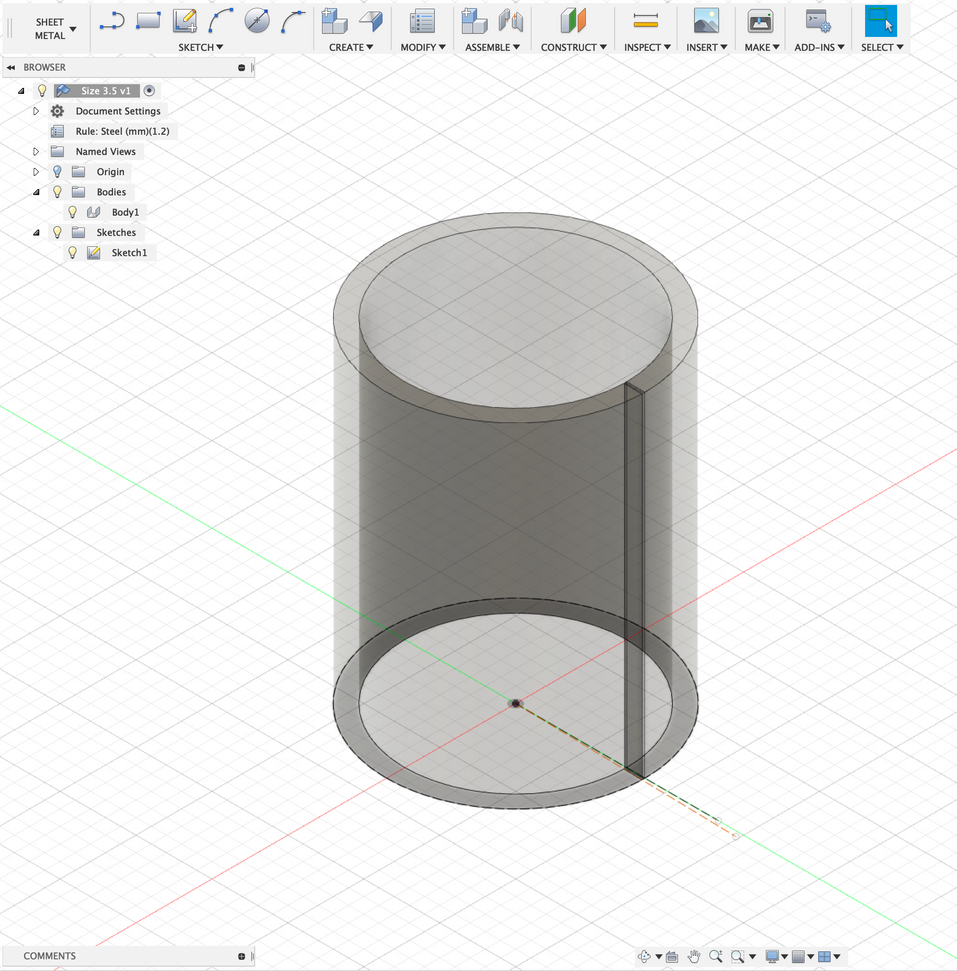 I needed a 3D program that could apply a vector image to a curved surface. Fusion 360 has just such a function in its sheet metal workspace. Here I started with a cylinder with a wedge cut out of one side.