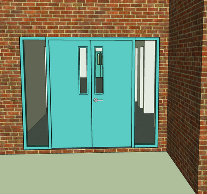 And the doors were fun, too. I only wish I'd made my own brick pattern repeat. It's pretty low-res. I'll get to that someday!