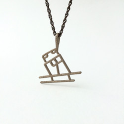 Skier Pendant in Steel