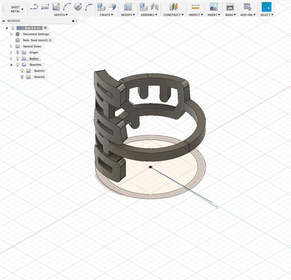 I then edited the original sketch and connected the ring ends to make it whole, and exported it to Meshmixer to finish it.