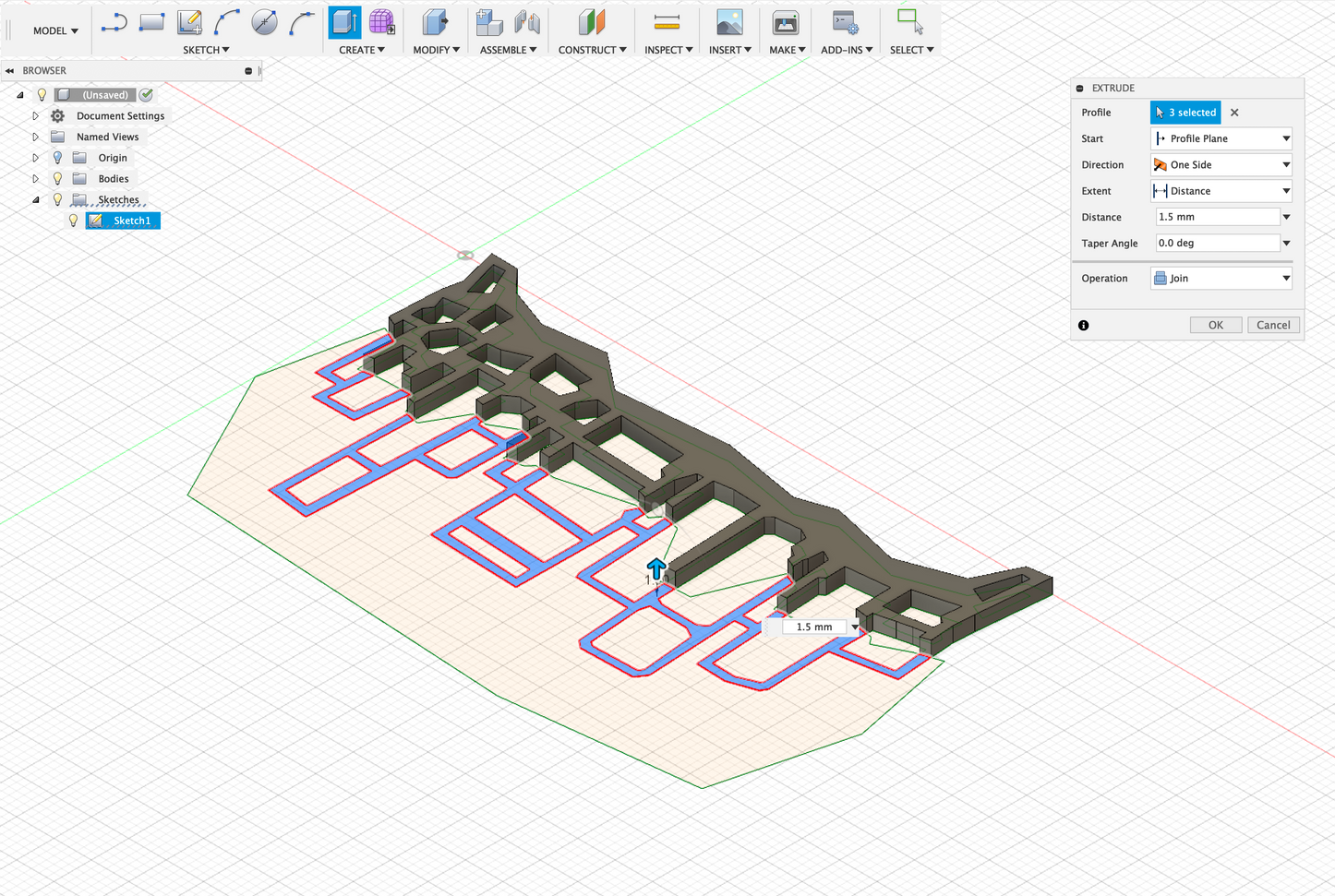 After importing the svg file to Fusion 360, I extruded the halves to different heights. I then exported the stl file to further sculpt it.