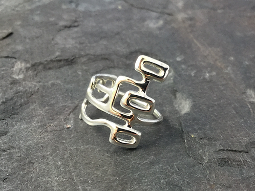 Front view of unusual street map ring