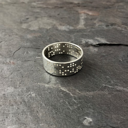 Punched Tape Decoder Silver Ring