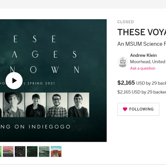 These Voyages Unknown: Indiegogo Campaign (1)