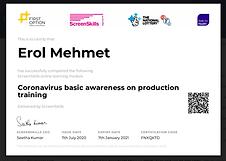 Coronavirus certificate for productions.